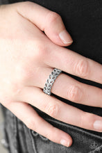 Load image into Gallery viewer, Featuring a slightly raised center, three shimmery silver bars coalesce into a dainty band. Rows of glassy white rhinestones are encrusted along the band, adding a refined finish to the classic palette. Features a dainty stretchy band for a flexible fit.  Sold as one individual ring.  Always nickel and lead free.