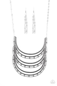 Paparzzi One Horse Race Silver Necklace Set