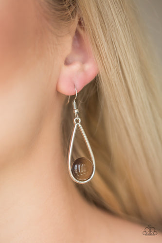 Paparazzi Over The Moon Brown Earrings
