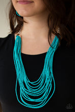 Load image into Gallery viewer, Infused with two bold silver fittings, row after row of turquoise seed beads layer across the chest for a seasonal fashion. Features an adjustable clasp closure.  Sold as one individual necklace. Includes one pair of matching earrings.  Always nickel and lead free.