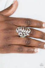 Load image into Gallery viewer, Encrusted in glittery white rhinestones, leafy silver frames attach to the ends of textured silver bars, creating a regal centerpiece. Features a stretchy band for a flexible fit.  Sold as one individual ring.  Always nickel and lead free.