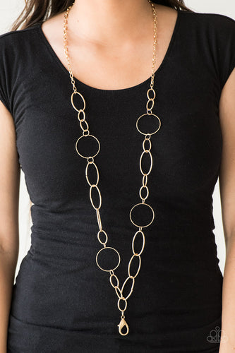 An array of smooth and textured gold hoops connect across the chest, creating a bold mismatched palette. A lobster clasp hangs from the bottom of the design to allow a name badge or other item to be attached. Features an adjustable clasp closure.   Sold as one individual lanyard. Includes one pair of matching earrings.  Always nickel and lead free.