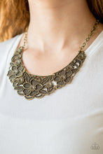Load image into Gallery viewer, Paparazzi Petunia Paradise Brass Necklace Set