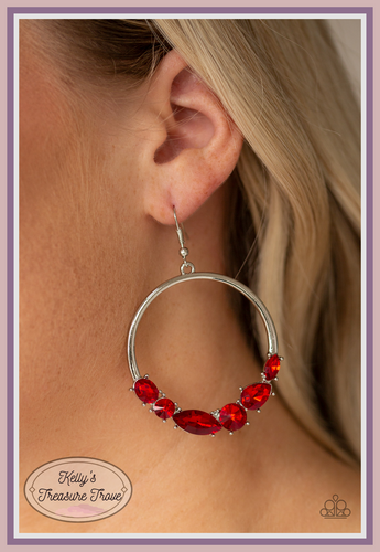 A dramatic collection of round, teardrop, marquise, and oval red rhinestones are encrusted along the bottom of a thick silver hoop for a glamorous flair. Earring attaches to a standard fishhook fitting.  Sold as one pair of earrings Always nickel and lead free.