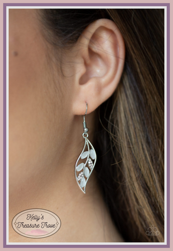 Paparazzi Sparkling Stems White Earrings