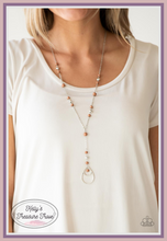 Load image into Gallery viewer, Infused with ornate silver beads, earthy brown stones trickle along a shimmery silver chain for a seasonal look. A glistening silver teardrop pendant swings from the bottom for a whimsical finish. Features an adjustable clasp closure.  Sold as one individual necklace. Includes one pair of matching earrings. Always nickel and lead free.