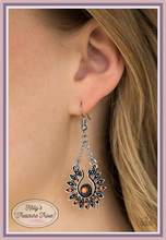 Load image into Gallery viewer, Dotted in dainty silver studs and faceted orange beads, silver marquise-shaped frames flare from an orange beaded center. The ornate frame swings from the bottom of two silver chains, creating a seasonal lure. Earring attaches to a standard fishhook fitting.  Sold as one pair of earrings.    Always nickel and lead free.