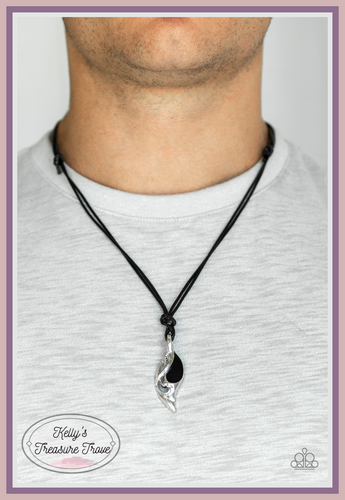 Featuring a shiny black accent, a leafy silver pendant is knotted in place along shiny black cording for an urban look. Features an adjustable sliding knot closure.  Sold as one individual necklace. Always nickel and lead free.