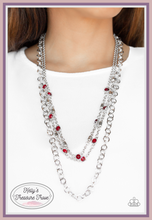 Load image into Gallery viewer, Dotted with glassy red rhinestones and glistening silver accents, a collision of mismatched silver chains layer down the chest for a refined flair. Features an adjustable clasp closure.  Sold as one individual necklace. Includes one pair of matching earrings. Always nickel and lead free!