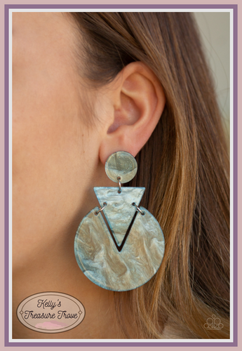 Swirling with watercolor-like patterns, glittery blue acrylic frames connect into an abstract lure for a retro look. Earring attaches to standard post fitting. Color may vary.  Sold as one pair of post earrings. Always nickel and lead free.