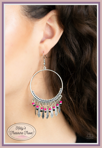 Embossed in floral patterns, flared silver bars and dainty beaded tassels swing from the bottom of a studded silver hoop, creating a whimsical fringe. Earring attaches to a standard fishhook fitting.  Sold as one pair of earrings.   Always nickel and lead free.