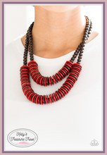 Load image into Gallery viewer, Brown wooden beads give way to rows of red and brown wooden discs, creating colorful layers for a summery look. Features a button-loop closure.  Sold as one individual necklace. Includes one pair of matching earrings.  Always nickel and lead free.