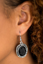 Load image into Gallery viewer, An oversized black gem is pressed into a beveled silver frame radiating with glittery hematite rhinestones for a regal look. Earring attaches to a standard fishhook fitting.  Sold as one pair of earrings.  Always nickel and lead free.