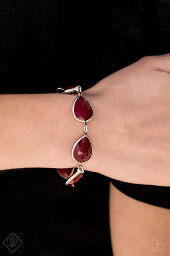 Encased in sleek silver frames, faceted Wine acrylic teardrops delicately link around the wrist for an elegant pop of color. Features an adjustable clasp closure.  Sold as one individual bracelet.  Always nickel and lead free.