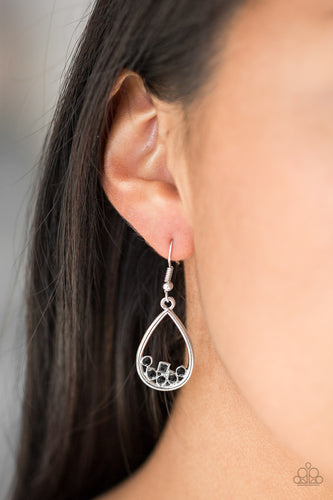 Varying in shape, a collection of dainty black rhinestones collect at the bottom of an airy silver teardrop frame for a timeless finish. Earring attaches to a standard fishhook fitting.  Sold as one pair of earrings.  Always nickel and lead free.