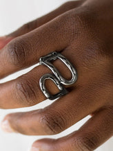 Load image into Gallery viewer, Swooping folds of gunmetal join across the finger, creating an airy band. Features a stretchy band for a flexible fit.  Sold as one individual ring.  Always nickel and lead free.