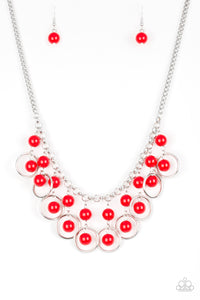 Paparazzi Really Rococo Red Necklace Set