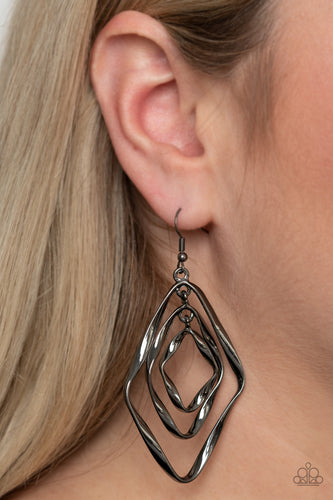 A trio of twirling gunmetal diamond-shaped frames link into a rippling lure for a dizzying look. Earring attaches to a standard fishhook fitting.  Sold as one pair of earrings.  Always nickel and lead free.