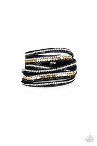Paparazzi Rock Star Attitude Black (Gold) Wrap Bracelet
