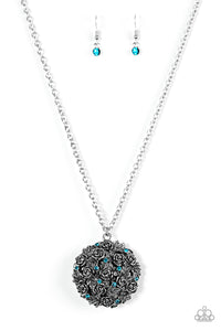 Paparazzi Royal In Roses Blue Necklace Set