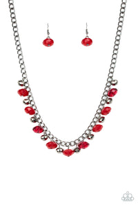 Paparazzi Runway Rebel Red Necklace Set