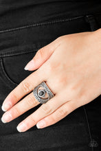 Load image into Gallery viewer, Embossed in shimmery filigree, glistening silver frames join around an earthy black stone center for a seasonal look. Features a stretchy band for a flexible fit.  Sold as one individual ring.  Always nickel and lead free.
