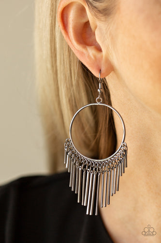 Dainty gunmetal rods swing from the bottom of a glistening gunmetal hoop, creating a tapered fringe. Earring attaches to a standard fishhook fitting.  Sold as one pair of earrings. Always nickel and lead free.