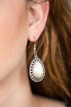 Load image into Gallery viewer, Sahara Serenity White Teardrop Earrings From Paparazzi