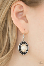 Load image into Gallery viewer, An earthy white stone is pressed into the center of a textured silver frame, creating a seasonal lure. Earring attaches to a standard fishhook fitting.  Sold as one pair of earrings.  Always nickel and lead free.