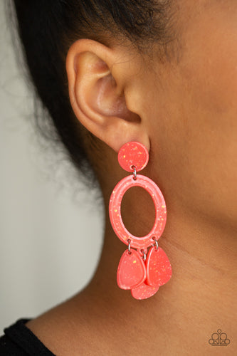 Sparkle flecked coral acrylic frames link into an abstract lure for a summery look. Earring attaches to a standard post fitting.  Sold as one pair of post earrings.  Always nickel and lead free.