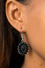 Load image into Gallery viewer, Marquise shaped black beads are pressed into a shimmery silver frame, coalescing into a whimsical lure. Earring attaches to a standard fishhook fitting.  Sold as one pair of earrings.  Always nickel and lead free.