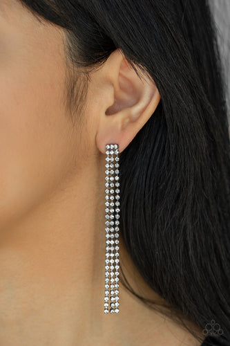 Three strands of glittery white rhinestones free-fall from the ear, coalescing into a timeless chandelier. Earring attaches to a standard post fitting.  Sold as one pair of post earrings.    Always nickel and lead free.