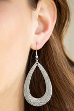 Load image into Gallery viewer, Etched in blinding shimmer, a glistening silver teardrop swings from the ear for a bold industrial look. Earring attaches to a standard fishhook fitting.  Sold as one pair of earrings.  Always nickel and lead free.