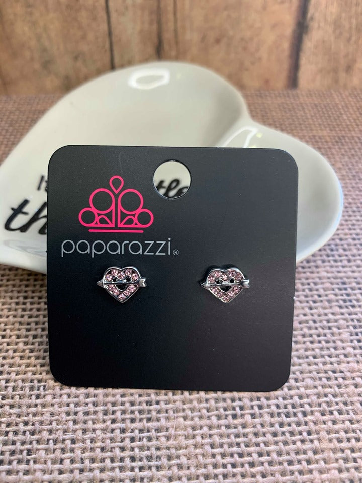 Paparazzi Starlet Shimmer Straight Heart Pink Earrings