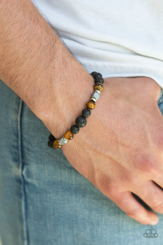 ESSENTIAL OIL ALERT!!!  Earthy black lava rocks, shiny tiger's eye stones, and flashy metallic accents are threaded along a stretchy band around the wrist for a seasonal flair.  Sold as one individual bracelet.  Always nickel and lead free.