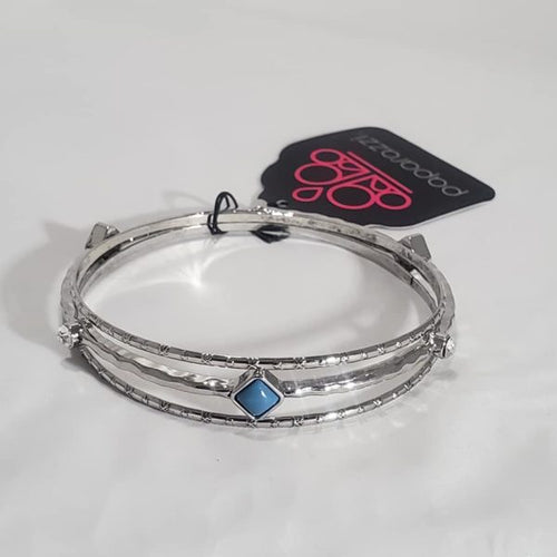 Paparazzi Exclusive Sunset Fusion Blue Bangle Bracelets