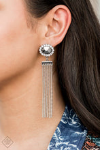 Load image into Gallery viewer, Silver chains stream from the bottom of a faceted silver bead that has been nestled inside a ring of glittery white rhinestones, creating a flirtatious tassel. Earring attaches to a standard post fitting.