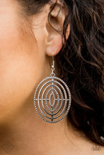 Load image into Gallery viewer, Oversized circular frames adorned in texture radiate from a central point, creating a dizzying design. Earring attaches to a standard fishhook fitting.