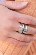 Load image into Gallery viewer, Delicately hammered in shimmery details, glistening silver bands wrap back and forth across the finger for an edgy look. Features a stretchy band for a flexible fit.