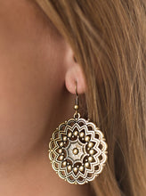 Load image into Gallery viewer, Brushed in an antiqued shimmer, brass bars and brass studs spin into a kaleidoscopic pattern for a whimsical fashion. Earring attaches to a standard fishhook fitting.  Sold as one pair of earrings.   Always nickel and lead free.
