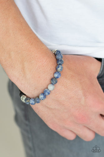 Essential Oil Alert!!  Infused with dainty silver accents, a collection of black lava rock beads and refreshing blue stone beads are threaded along a stretchy band around the wrist for a seasonal style.  Sold as one individual bracelet.  Always nickel and lead free.