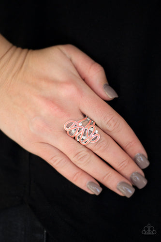 Painted in a shiny orange finish, glistening silver ribbons whirl around dainty white rhinestones, coalescing into a whimsical frame atop the finger. Features a stretchy band for a flexible fit.  Sold as one individual ring. Always nickel and lead free.