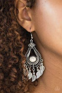 Paparazzi The FLIGHT Of Your Life Feather White Earrings