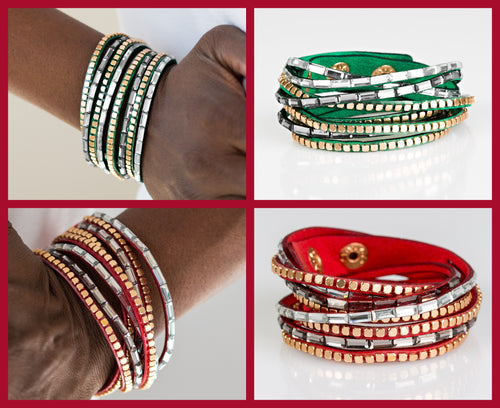 Paparazzi This Time With Attitude Green and Red Double Wrap Bracelets