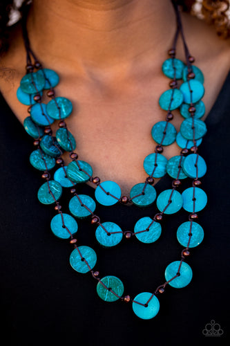 Tinted in blue finishes, shiny wooden discs trickle along shiny brown cording, creating three colorful layers below the collar. Features a button-loop closure.  Sold as one individual necklace. Includes one pair of matching  Always nickel and lead free.