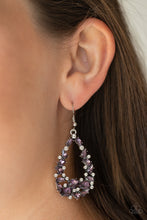 Load image into Gallery viewer, Varying in size and shape, a refined collection of purple and white rhinestones are encrusted along a shimmery silver teardrop frame for a timeless look. Earring attaches to a standard fishhook fitting.  Sold as one pair of earrings.  Always nickel and lead free.