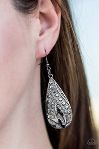 Embossed in tactile textures, a glistening gunmetal teardrop swings from the ear in a seasonal fashion. Earring attaches to a standard fishhook fitting.  Sold as one pair of earrings.  Always nickel and lead free.