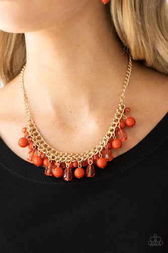 Varying in shape, glassy and polished orange beads swing from the bottom of interlocking gold chains. Crystal-like teardrops are sprinkled along the colorful beading, creating a flirtatious fringe below the collar. Features an adjustable clasp closure.  Sold as one individual necklace. Includes one pair of matching earrings.  Always nickel and lead free.