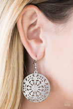 Load image into Gallery viewer, Brushed in a distressed gray finish, an ornate circular frame swings from the ear in a whimsical fashion. Earring attaches to a standard fishhook fitting.  Sold as one pair of earrings.  Always nickel and lead free.