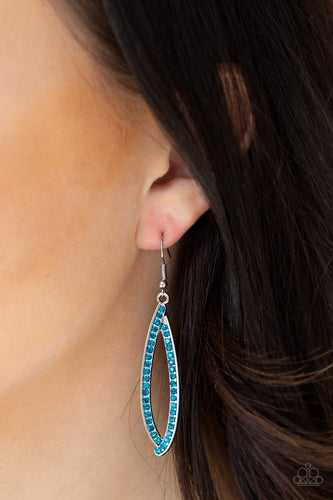 Encrusted in glittery blue rhinestones, ribbons of silver delicately fold into an abstract teardrop for a classic look. Earring attaches to a standard fishhook fitting.  Sold as one pair of earrings. Always nickel and lead free.